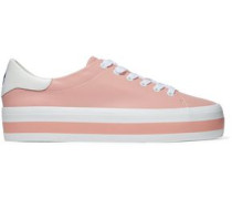 Ezra Embroidered Leather Platform Sneakers Antique Rose