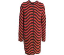 Brushed wool-blend jacquard coat