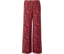 Mystery Floral-print Twill Wide-leg Pants Crimson