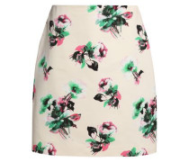 Floral-print cotton mini skirt