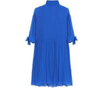 Knotted plissé-chiffon mini dress