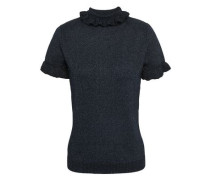 Woman Mary Ruffle-trimmed Metallic Wool-blend Sweater Navy