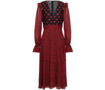 Lace-paneled Floral-print Crepe Midi Dress Claret