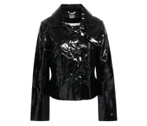 Woman Bow-embellished Vinyl Jacket Black