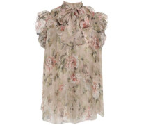 Woman Pussy-bow Ruffle-trimmed Floral-print Silk-chiffon Blouse Sand