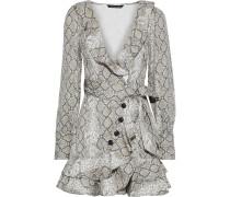 Woman Eli Wrap-effect Snake-print Cotton-canvas Mini Dress Animal Print