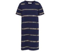 Chain-embellished Stretch-crepe Mini Dress Navy