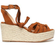 Knotted Suede Espadrille Wedge Sandals Light Brown