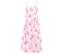 Woman Gathered Floral-print Cotton-poplin Midi Dress Pink