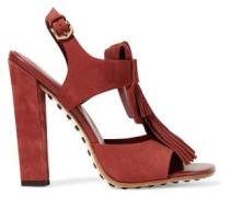 Fringed Suede Sandals Brick