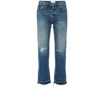 The Throwback Original Distressed High-rise Straight-leg Jeans Mid Denim  6