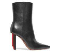 Textured-leather Ankle Boots Black