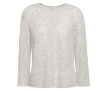 Mélange Ribbed-knit Sweater Light Gray