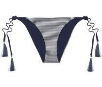 Joan Reversible Striped Low-rise Bikini Briefs Navy