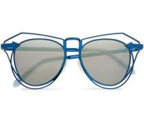 Aviator-style Metal Mirrored Sunglasses Blue Size --