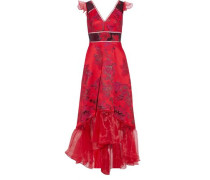 Asymmetric Organza-paneled Brocade Gown Red