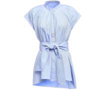 Bead-embellished Cotton-poplin Top Light Blue