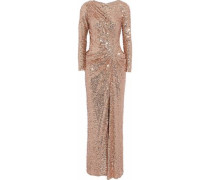 Ruched sequined tulle gown