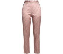 Printed silk-blend satin pajama pants