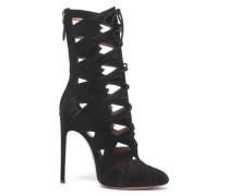 Lace-up Laser-cut Suede Ankle Boots Black