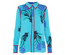 Floral-print Silk-blend Shirt Turquoise