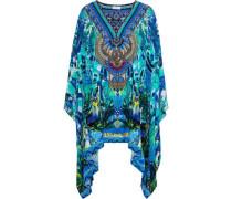 Amazon Azure Embellished Printed Silk Crepe De Chine Kaftan Azure Size ONESIZE