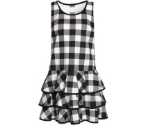 Tiered gingham cotton mini dress