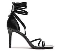 Snake-effect Leather Sandals Black