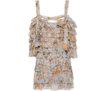 Painted Heart Ra Ra Cold-shoulder Tiered Printed Silk-georgette Mini Dress Light Blue Size 0
