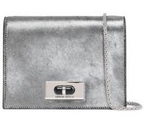 Metallic Calf Hair Shoulder Bag Silver Size --