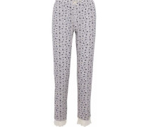 Lace-trimmed printed stretch-modal pajama pants