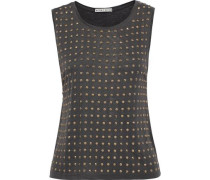 Woman Cicely Studded Cotton And Micro Modal-blend Jersey Tank Black