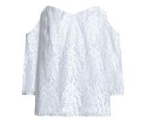 Off-the-shoulder cotton-blend lace top