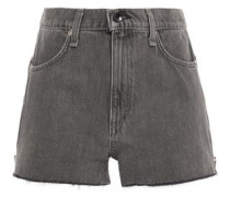 Woman Zip-detailed Frayed Denim Shorts Dark Gray