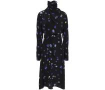 Woman Draped Floral-print Silk Crepe De Chine Turtleneck Dress Black