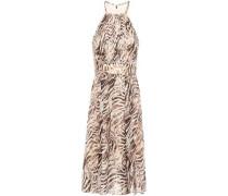 Woman Dominica Silk-blend Devoré Halterneck Midi Dress Animal Print