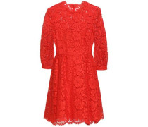 Cotton-blend Corded Lace Mini Dress Papaya