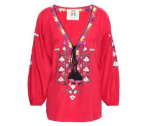Embroidered Silk Crepe De Chine Blouse Red