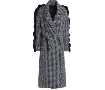 Ruffle-trimmed Wool-blend Tweed Coat Midnight Blue
