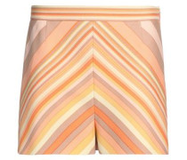 Striped wool and silk-blend shorts