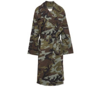 Printed Stretch-cotton Trench Coat Army Green