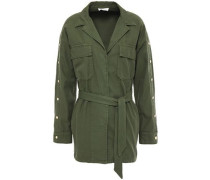 Woman Bari Belted Cotton And Linen-blend Twill Jacket Leaf Green