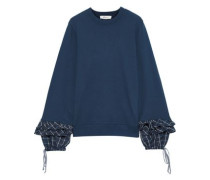Ruffled Checked Twill-trimmed French Cotton-terry Sweatshirt Blue