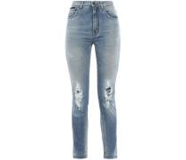 Distressed High-rise Skinny Jeans Mid Denim