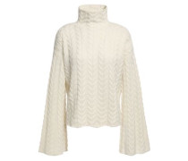 Cable-knit Cashmere Turtleneck Sweater Ivory
