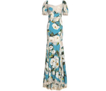 Lace-trimmed floral-print silk-blend crepe gown