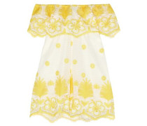 Off-the-shoulder Broderie Anglaise Cotton Mini Dress Bright Yellow