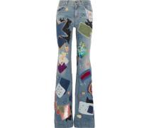 Embellished high-rise flared jeans