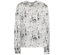 Ruffle-trimmed Printed Silk-satin Shirt White