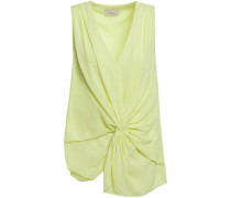 Woman Abby Twist-front Crepe Blouse Chartreuse